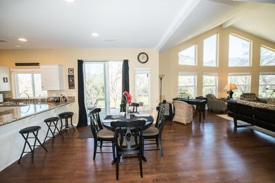 Dining area with table seating for six