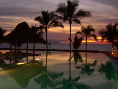 Sunset over the infinity pool.