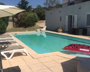 Photo for Villa sea view 5 min walk from the sandy beaches, private pool