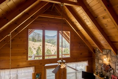 BEAUTIFUL view from the A-frame type windows in the chalet-view from the loft
