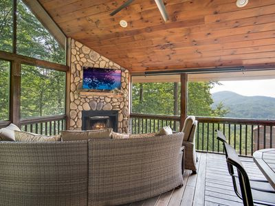 Photo for Mountain Views, Hot Tub, Fire Pit, Outdoor Living Room & Fireplace, Game Room