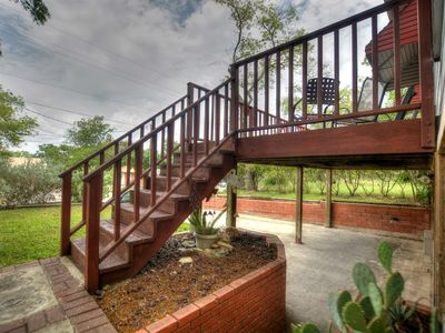 Stairs for the Shared Front Deck - The shared deck is easy to get to and gives you a great view looking out!