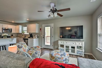 This newly built Fayetteville vacation rental unit features numerous comforts.
