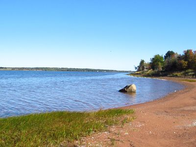 Grand River Beach is a bathtub warm tidal river flowing out to the Malpeque Bay