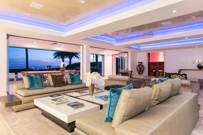 Living Room - Contemporary furnishings and ocean views in the main living area.