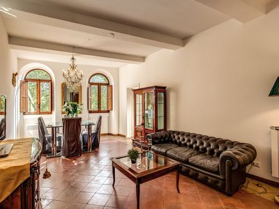 Photo for 2 bedroom apartment at Via Giulia with exclusive view of Palazzo Spada courtyard and Ponte Sisto.
