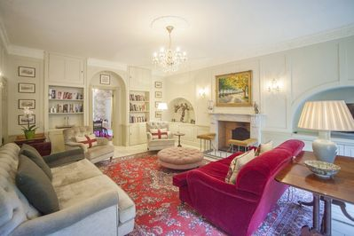 Beautiful drawing room with original georgian panelling and double doors to dining room