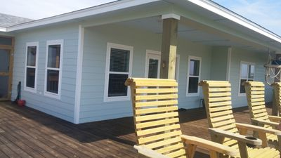 Large deck, ample seating, and great view!