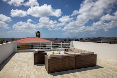 Rooftop terrace with panoramic island views