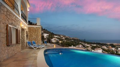 Photo for Outstanding views of the sea, valley and mountains.  Large family friendly villa