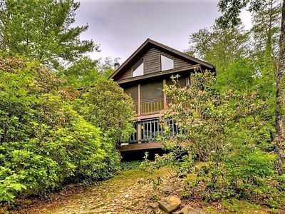 Photo for At Seclusion, lose yourself in the charm of a stacked log cabin facing the spectacular Rich Mountain