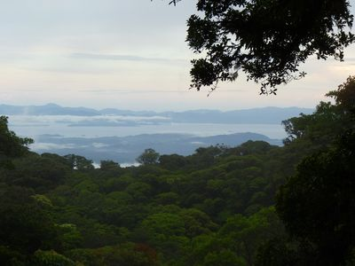 The view of the Gulf of Nicoya and Nicoya Peninsula from the front porch (August 2013.)