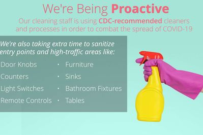 Our cleaning staff is using CDC-recommended cleaners & processes in order to combat the spread of COVID-19.
