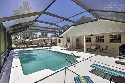 If you don't want to travel anywhere, take a load off by the private pool.
