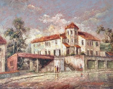 """""""SAN LUCA"""" CASTLE USED TO BE CALLED """"SAN  REMO"""". PAINTING by Salme Tiernan (oil on canvas, 39cm x 49cm, around 1950). AFTER RENOVATION IN 1997 THE BUILDING HAS BEEN NAMED """"SAN LUCA""""."""