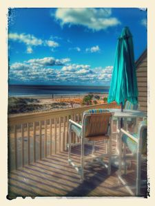 On one of many decks ,looking at south end  on tybee Island!