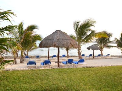 Lasirena (man made beach) palapa shade, quiet, relaxing, easy senior access