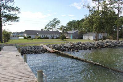 Front of house and shared pier and permanent ramp to water from the Potomac side