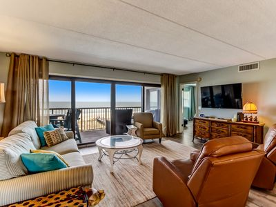 Photo for 4th Floor 3 Bed/2 Bath Oceanfront condo sleeps 7.  W/D, pool, tennis , community grills and private fishing pier!