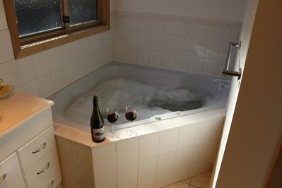 Double spa with bubbles and local wine a great way to end your day