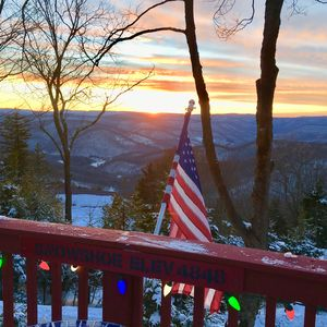 Sunset taken from our deck at The Polaris Pointe at Snowshoe.