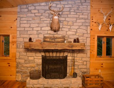 Wood burning fireplace smells and feels amazing in the fall and winter months!