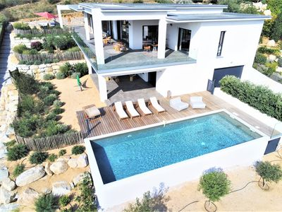 Photo for Luxury villa with pool very beautiful sea view on the Gulf of Ajaccio