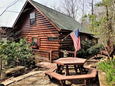 Photo for This cabin is dripping with personality,  Cozy Enough For 2 Yet Can Accommodate 6!