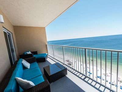 Photo for Share spectacular Gulf view Pelicans soaring by from comfy balcony sofa.
