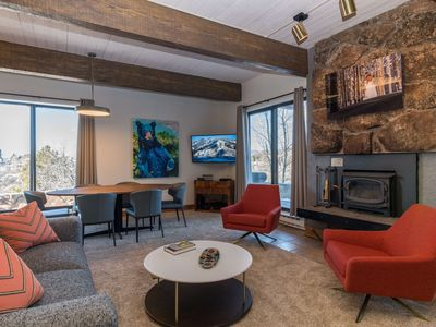 Photo for Chic Slopeside Condo | Walk In/Ski Out | Newly Renovated | Heated Pool, Hot Tub + Amenities!