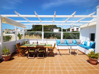 Photo for modern, airconditioned apt. with 100sqm private seaview-terrace, sunloungers and barbecue, large common pool, for 6 persons, with double-garageparking, free WiFi