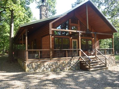 Photo for Luxury Couples Cabin in Hochatown (Hot Tub, Outdoor TV & Fireplace)