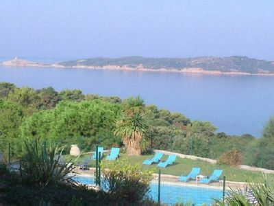 Photo for Corsica Cargese: Air conditioned-flat in residence***, sea view, pool