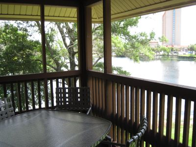 Photo for Beautiful lake view, 5 min walk to beach. One of largest porches-seating for 6