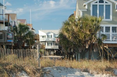 View of house (in middle) from beach.  It's THAT close. Easy access in 99 steps.