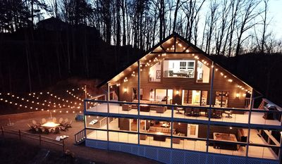 Photo for NEW Luxury Cabin! Beautiful Mt. LeConte Views+ HUGE Deck+ Game Room+ Theatre!