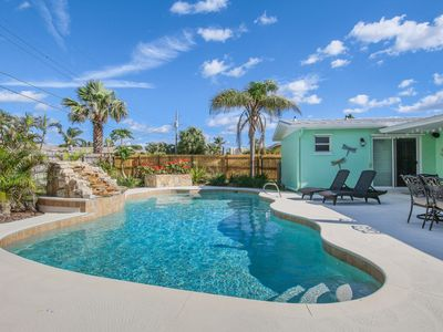 Photo for Bright dog-friendly home w/ private pool & enclosed yard - walk to the beach