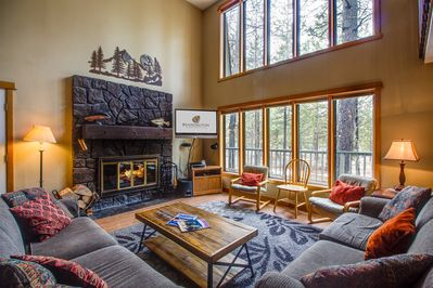 Living Room w/ Wood Fireplace