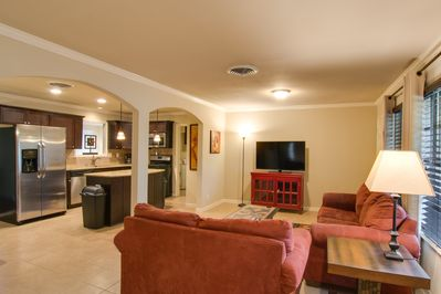 Living room and open kitchen, great for entertaining
