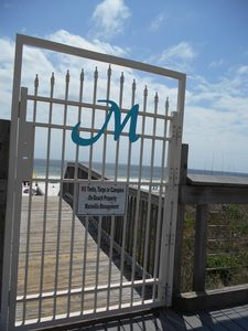 Maravilla's gated entrance to the 500 ft beach.