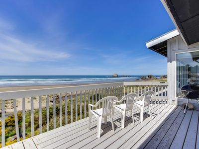 Photo for Dog-friendly, oceanfront home w/ beach access, deck - only minutes from town