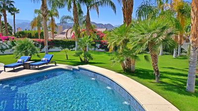Desert Rock Oasis spectacular large, private backyard with a saltwater pool/spa