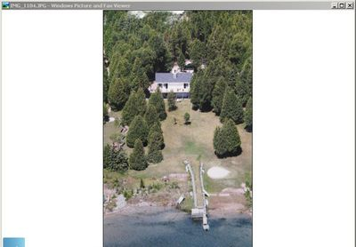 Aerial view of cottage from Pine Tree Harbour