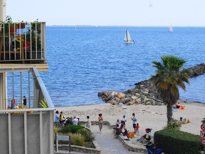 Photo for Charming one bedroom overlooking the beach in a small city in south of France