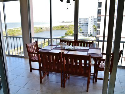 Photo for Best views on FMB with huge lanai looking all the way up to Sanibel & Captiva!