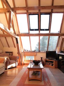 Window in living area looking our over the top ofMilson Wood and the views beyon
