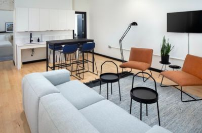 Spacious living room inside the unit