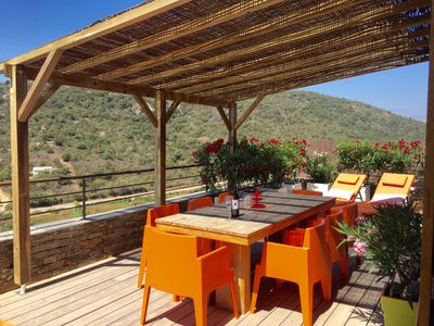 Photo for New, modern stone chalet with large terrace and large pool (Rondinara)