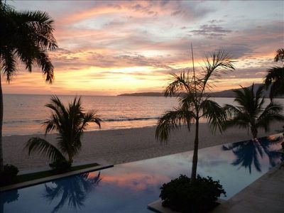 Infinity pool at sunset.