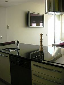 Details of modern kitchen and 42 inch plasma TV